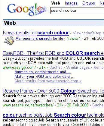 google screen capture, search colour